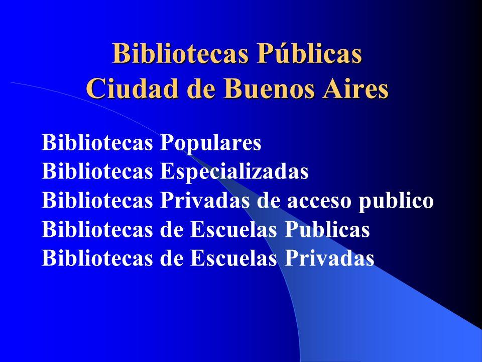 Bibliotecas Públicas Ciudad de Buenos Aires Bibliotecas Populares Bibliotecas Especializadas Bibliotecas Privadas de acceso publico Bibliotecas de Escuelas Publicas Bibliotecas de Escuelas Privadas
