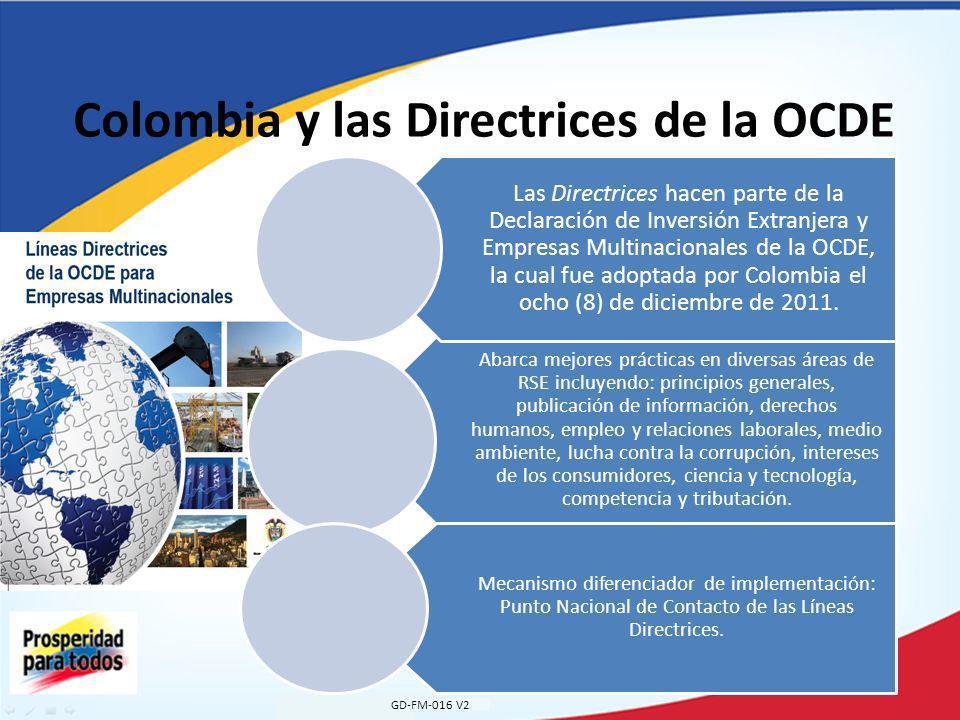 Colombia y las Directrices de la OCDE GD-FM-016 V2 Abarca mejores prácticas en diversas áreas de RSE incluyendo: principios generales, publicación de