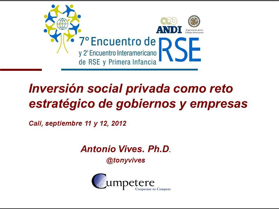 Antonio Vives. Ph.D. @tonyvives Inversión social privada como reto estratégico de gobiernos y empresas Cali, septiembre 11 y 12, 2012