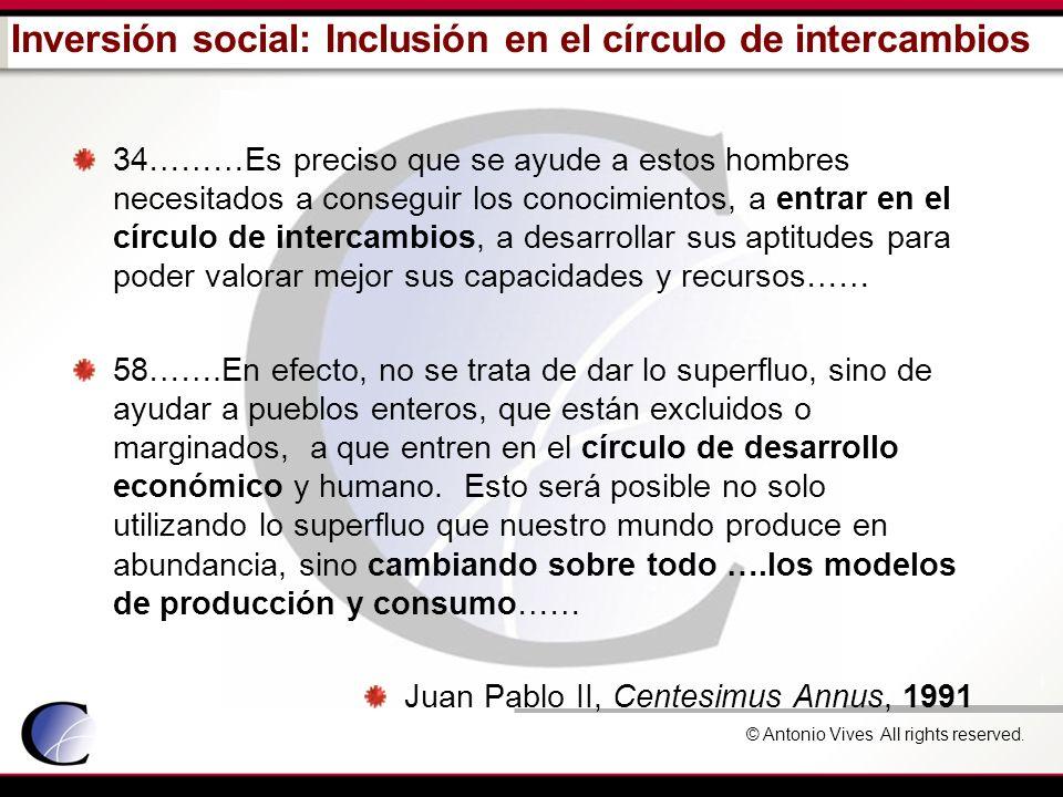 © Antonio Vives All rights reserved. Inversión social: Inclusión en el círculo de intercambios 34………Es preciso que se ayude a estos hombres necesitado