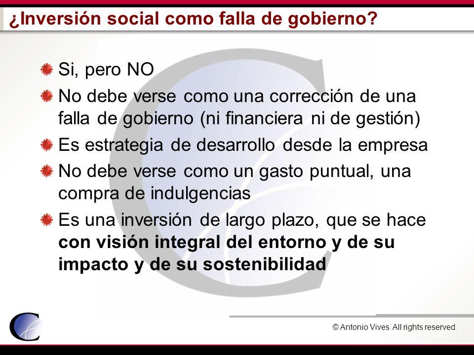 © Antonio Vives All rights reserved. ¿Inversión social como falla de gobierno? Si, pero NO No debe verse como una corrección de una falla de gobierno