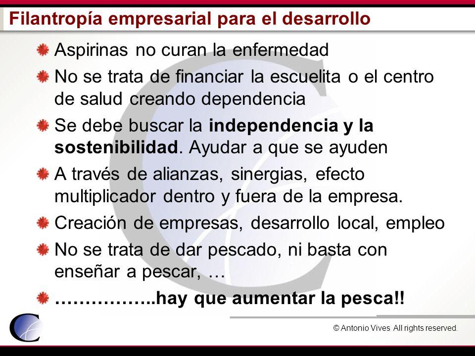 © Antonio Vives All rights reserved. Filantropía empresarial para el desarrollo Aspirinas no curan la enfermedad No se trata de financiar la escuelita