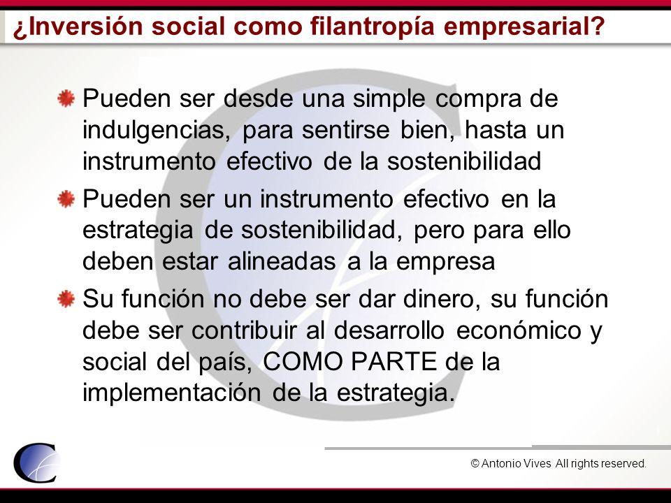 © Antonio Vives All rights reserved. ¿Inversión social como filantropía empresarial? Pueden ser desde una simple compra de indulgencias, para sentirse