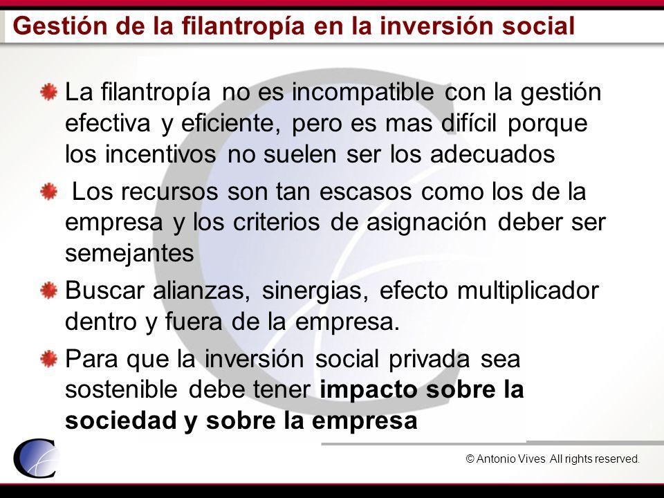© Antonio Vives All rights reserved. Gestión de la filantropía en la inversión social La filantropía no es incompatible con la gestión efectiva y efic