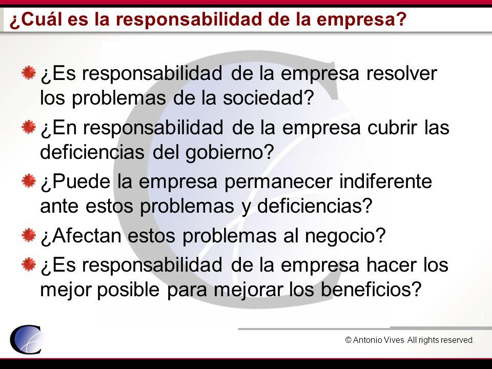 © Antonio Vives All rights reserved. ¿Cuál es la responsabilidad de la empresa? ¿Es responsabilidad de la empresa resolver los problemas de la socieda