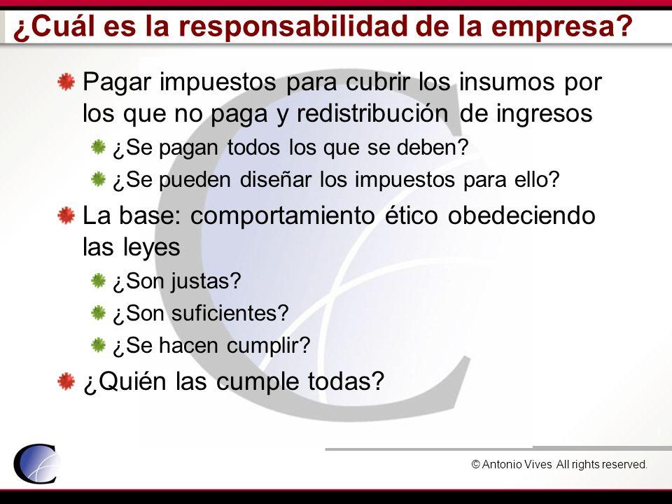 © Antonio Vives All rights reserved. ¿Cuál es la responsabilidad de la empresa? Pagar impuestos para cubrir los insumos por los que no paga y redistri