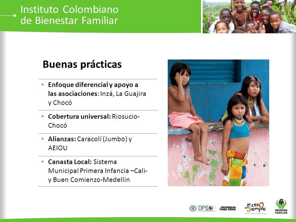 Enfoque diferencial y apoyo a las asociaciones: Inzá, La Guajira y Chocó Cobertura universal: Riosucio- Chocó Alianzas: Caracolí (Jumbo) y AEIOU Canas