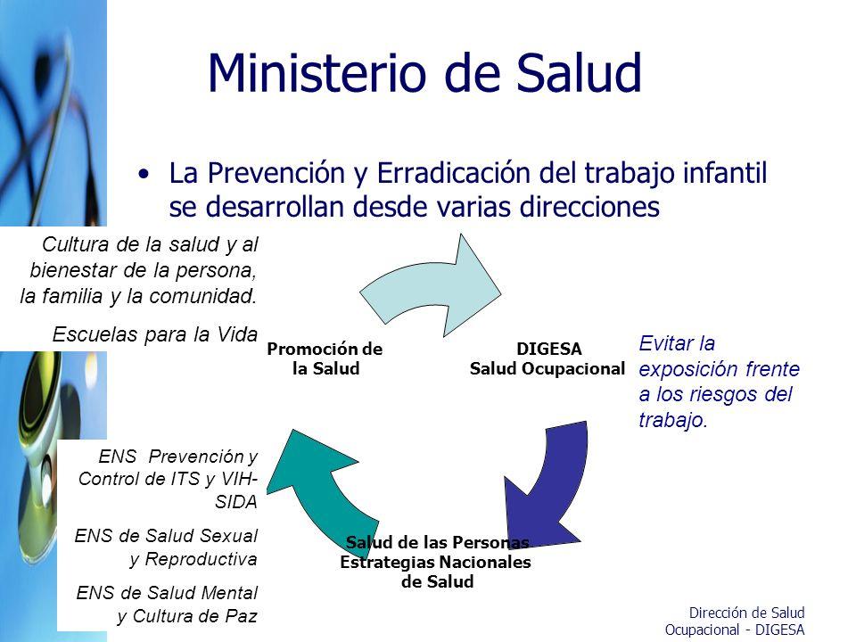 Ministerio de Salud La Prevención y Erradicación del trabajo infantil se desarrollan desde varias direcciones DIGESA Salud Ocupacional Salud de las Pe