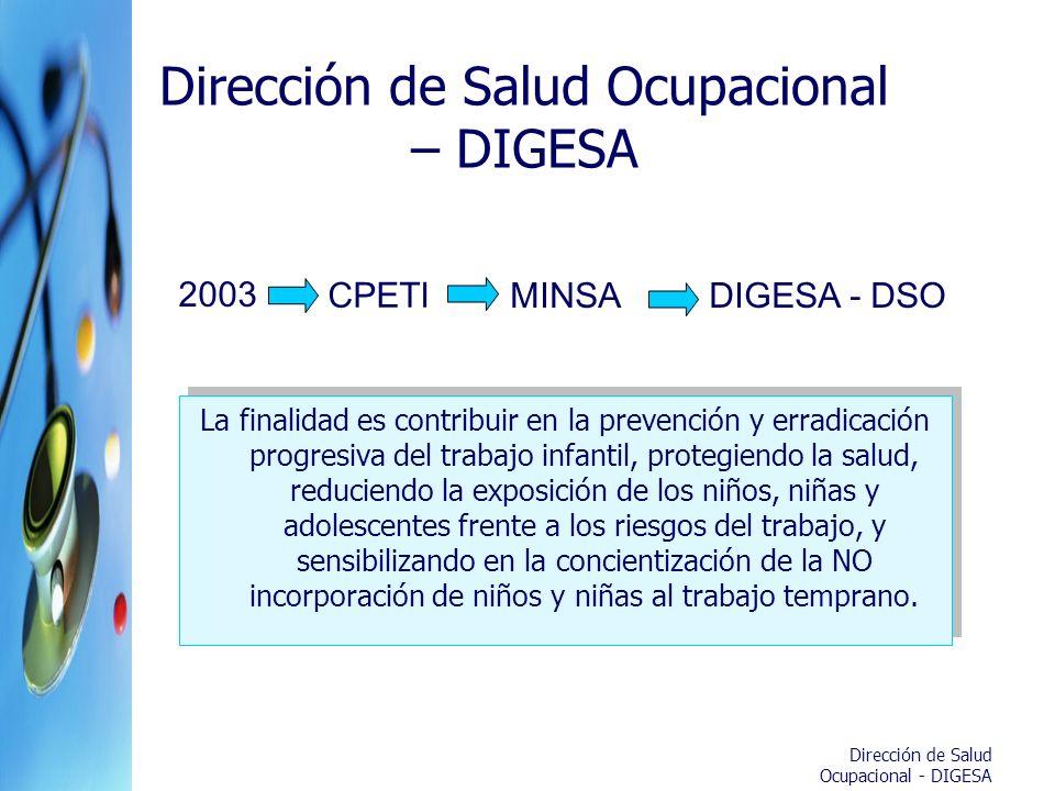 Dirección de Salud Ocupacional - DIGESA Dirección de Salud Ocupacional – DIGESA La finalidad es contribuir en la prevención y erradicación progresiva
