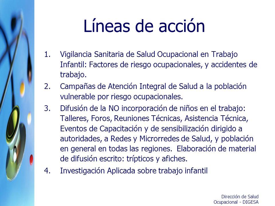 Dirección de Salud Ocupacional - DIGESA Líneas de acción 1.Vigilancia Sanitaria de Salud Ocupacional en Trabajo Infantil: Factores de riesgo ocupacion