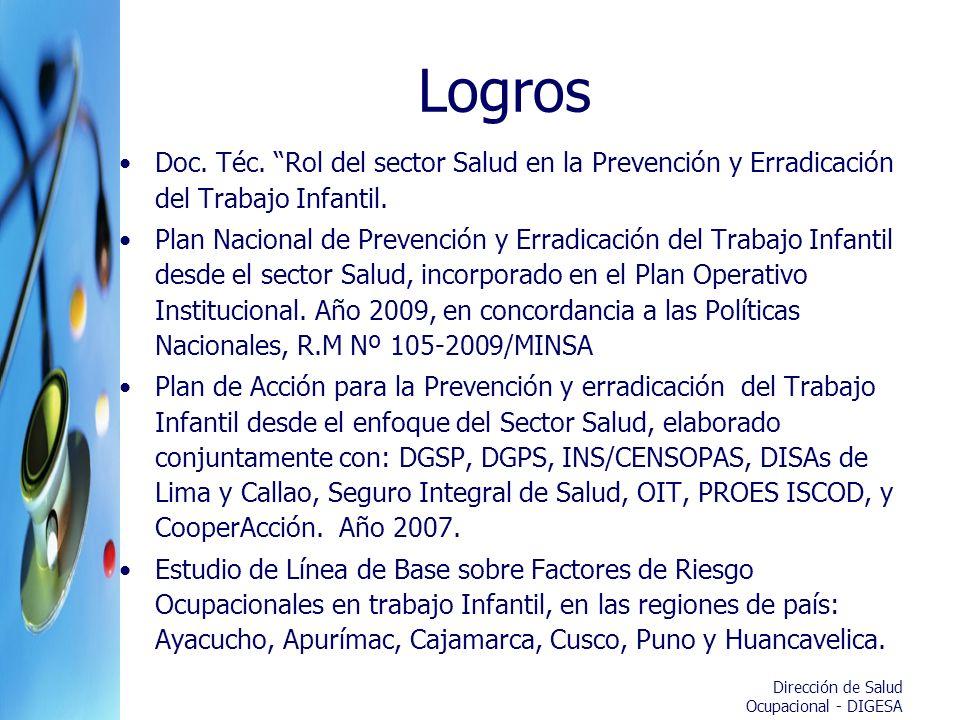 Dirección de Salud Ocupacional - DIGESA Logros Doc. Téc. Rol del sector Salud en la Prevención y Erradicación del Trabajo Infantil. Plan Nacional de P