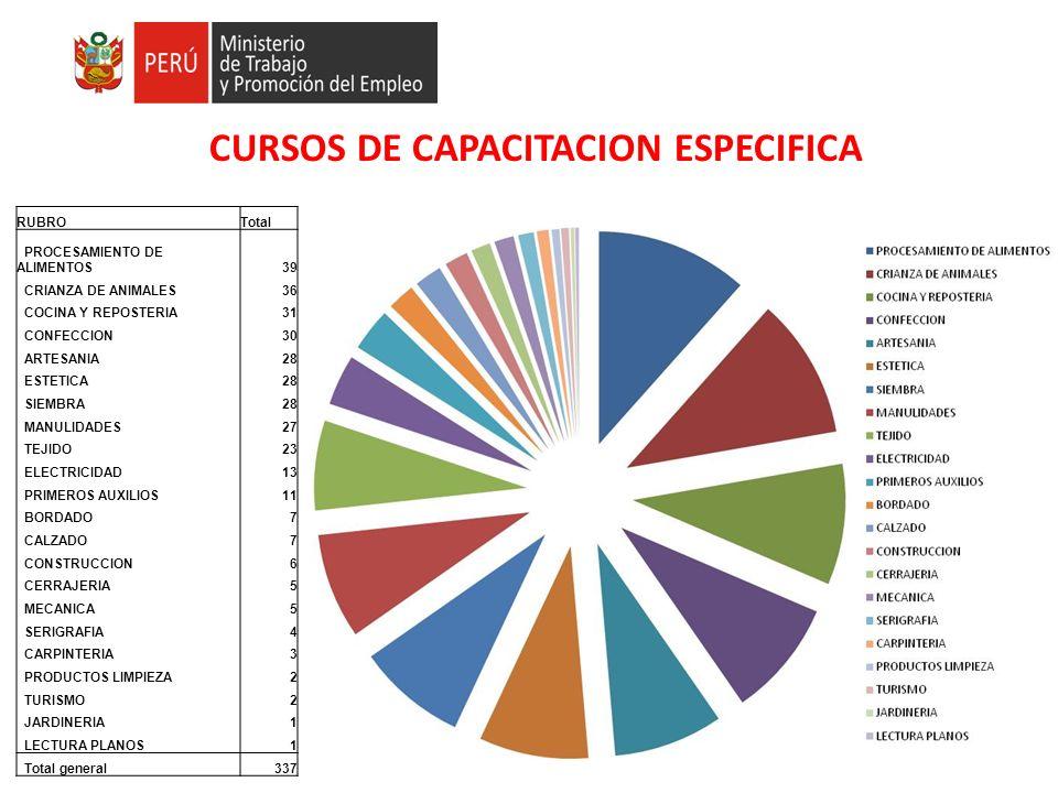 CURSOS DE CAPACITACION ESPECIFICA RUBROTotal PROCESAMIENTO DE ALIMENTOS39 CRIANZA DE ANIMALES36 COCINA Y REPOSTERIA31 CONFECCION30 ARTESANIA28 ESTETIC