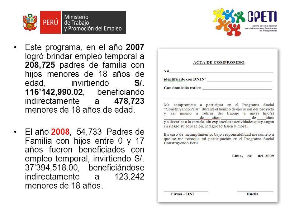 Este programa, en el año 2007 logró brindar empleo temporal a 208,725 padres de familia con hijos menores de 18 años de edad, invirtiendo S/. 116142,9