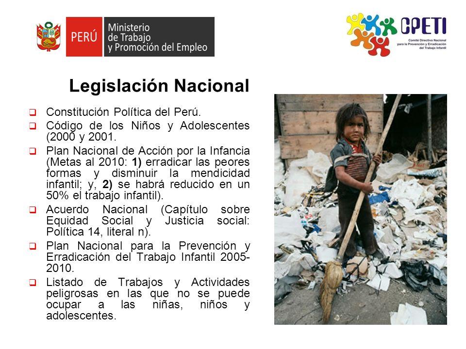Variación del Trabajo infantil y adolescente en Perú Año6 a 17 años n% de la población TID % 1996 2001 2006 1,359,000 1,987,000 2,265,000 16.0 29.0 32.0 69,8 (TFNR) (5,5% TID) (11,4%M) 5,6% TID 6,15 TID En julio de 2009, se contará con la Primera Encuesta Nacional especial sobre Trabajo Infantil.
