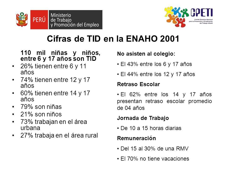 Cifras de TID en la ENAHO 2001 110 mil niñas y niños, entre 6 y 17 años son TID 26% tienen entre 6 y 11 años 74% tienen entre 12 y 17 años 60% tienen
