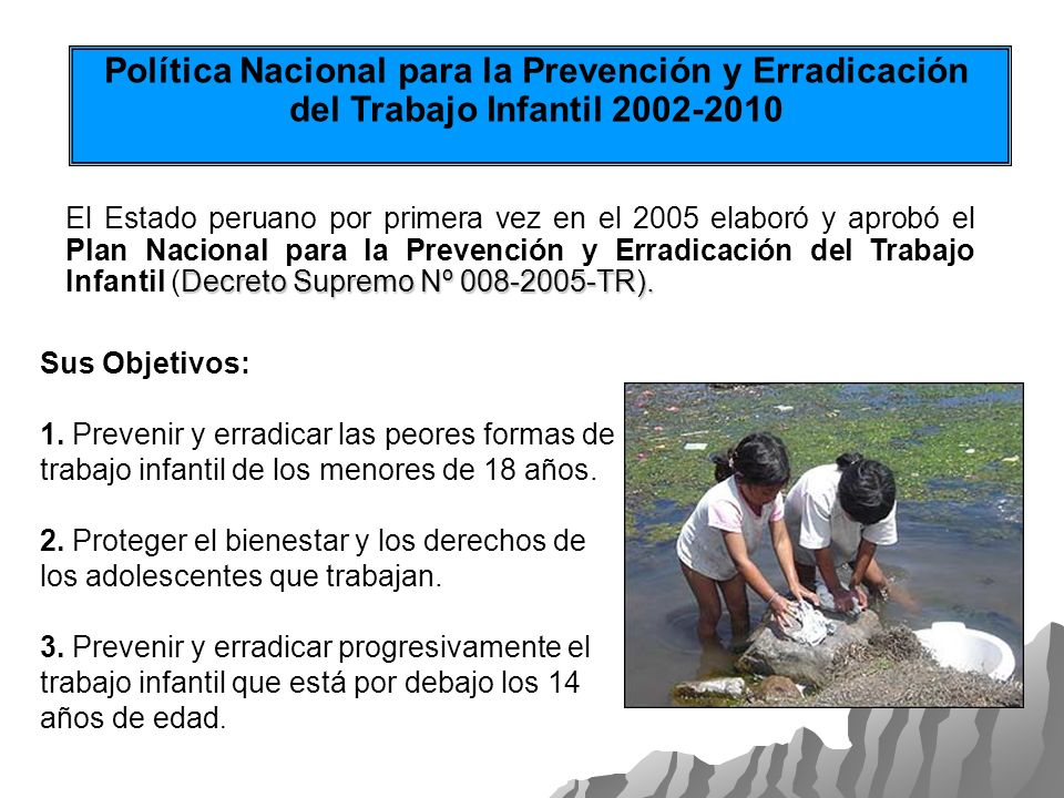 Política Nacional para la Prevención y Erradicación del Trabajo Infantil 2002-2010 Decreto Supremo Nº 008-2005-TR). El Estado peruano por primera vez