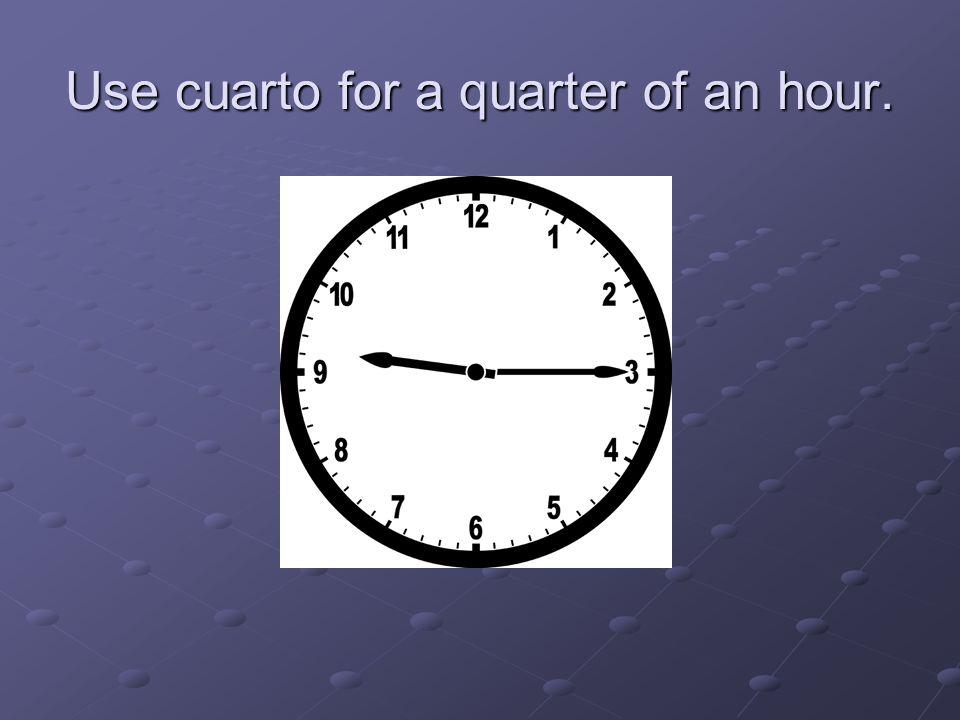 Use cuarto for a quarter of an hour.
