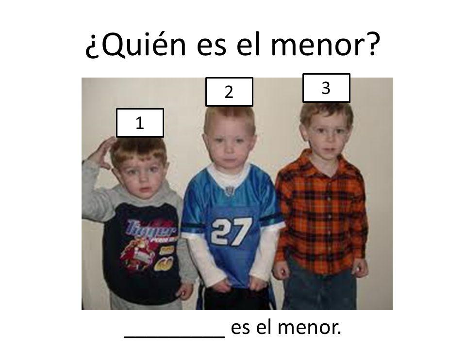 ¿Quién es el menor? 1 2 3 _________ es el menor.