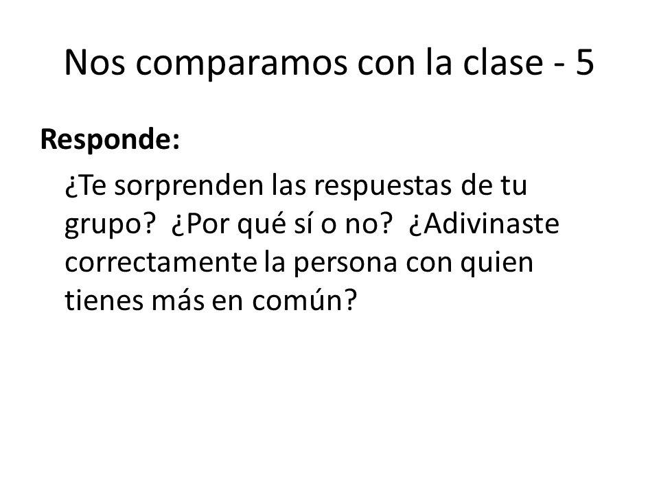 Nos comparamos con la clase - 5 Responde: ¿Te sorprenden las respuestas de tu grupo? ¿Por qué sí o no? ¿Adivinaste correctamente la persona con quien