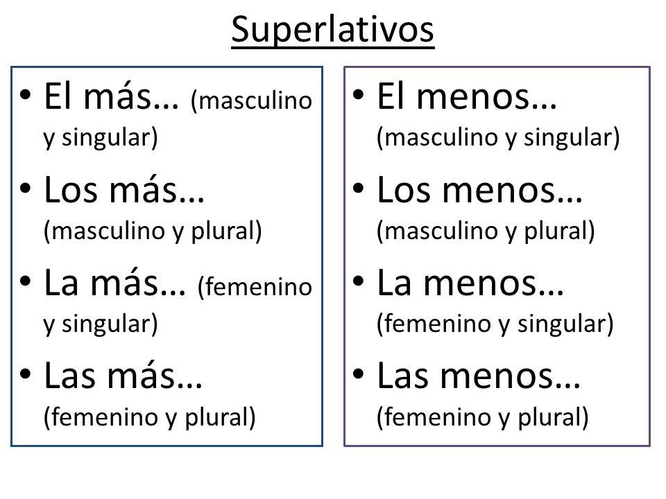 Superlativos El más… (masculino y singular) Los más… (masculino y plural) La más… (femenino y singular) Las más… (femenino y plural) El menos… (mascul