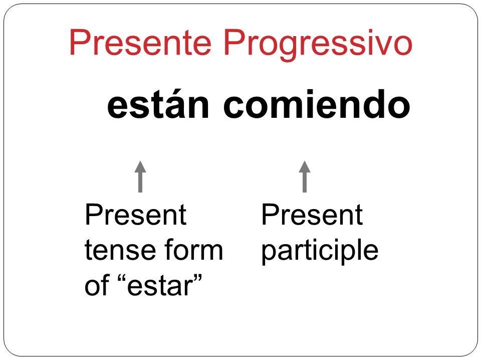 Presente Progressivo están comiendo Present tense form of estar Present participle