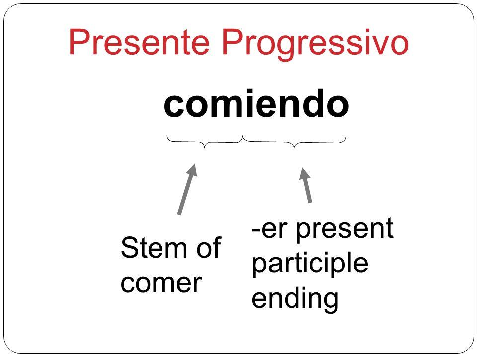 comiendo Stem of comer -er present participle ending Presente Progressivo