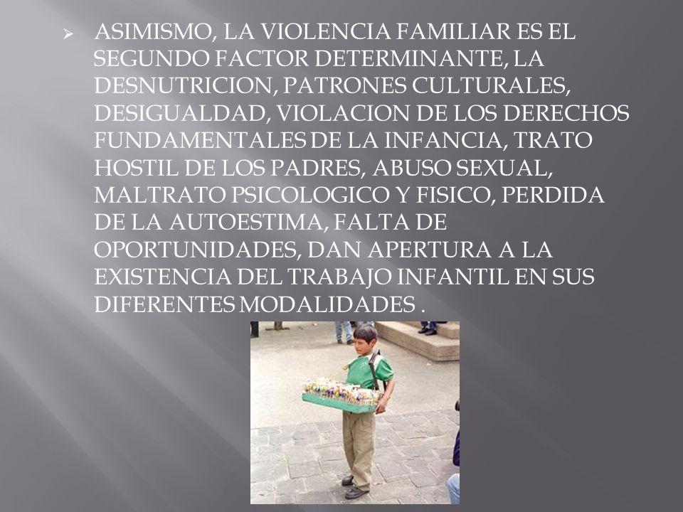 ASIMISMO, LA VIOLENCIA FAMILIAR ES EL SEGUNDO FACTOR DETERMINANTE, LA DESNUTRICION, PATRONES CULTURALES, DESIGUALDAD, VIOLACION DE LOS DERECHOS FUNDAM