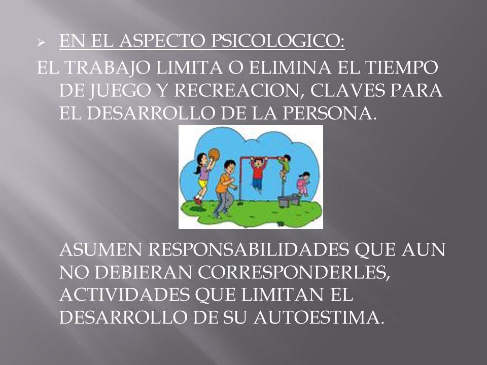 EN EL ASPECTO PSICOLOGICO: EL TRABAJO LIMITA O ELIMINA EL TIEMPO DE JUEGO Y RECREACION, CLAVES PARA EL DESARROLLO DE LA PERSONA. ASUMEN RESPONSABILIDA