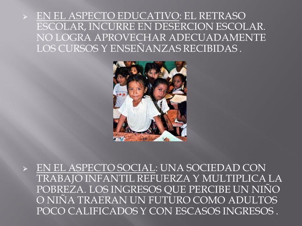 EN EL ASPECTO EDUCATIVO: EL RETRASO ESCOLAR, INCURRE EN DESERCION ESCOLAR. NO LOGRA APROVECHAR ADECUADAMENTE LOS CURSOS Y ENSEÑANZAS RECIBIDAS. EN EL