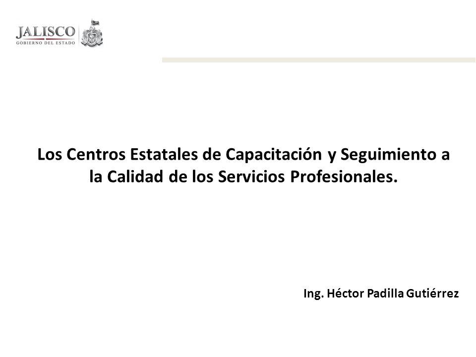 Los Centros Estatales de Capacitación y Seguimiento a la Calidad de los Servicios Profesionales. Ing. Héctor Padilla Gutiérrez