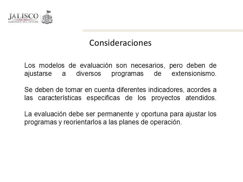 Consideraciones Los modelos de evaluación son necesarios, pero deben de ajustarse a diversos programas de extensionismo. Se deben de tomar en cuenta d