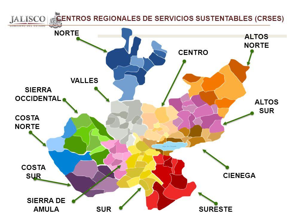 CENTROS REGIONALES DE SERVICIOS SUSTENTABLES (CRSES) CENTRO COSTA NORTE CIENEGA SURESTE NORTE SUR COSTA SUR SIERRA OCCIDENTAL VALLES ALTOS NORTE ALTOS