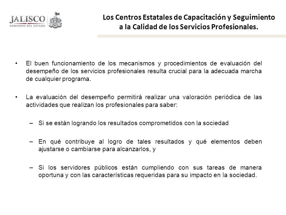 Los Centros Estatales de Capacitación y Seguimiento a la Calidad de los Servicios Profesionales. El buen funcionamiento de los mecanismos y procedimie