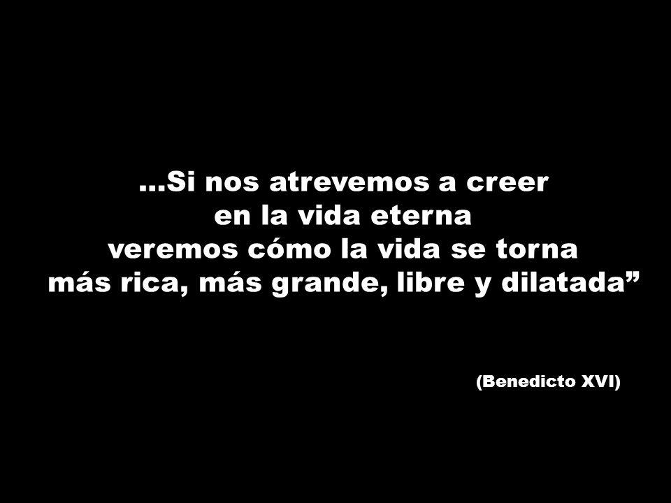 …Si nos atrevemos a creer en la vida eterna veremos cómo la vida se torna más rica, más grande, libre y dilatada (Benedicto XVI)