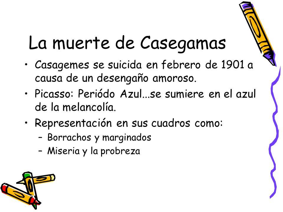 La muerte de Casegamas Casagemes se suicida en febrero de 1901 a causa de un desengaño amoroso. Picasso: Periódo Azul...se sumiere en el azul de la me