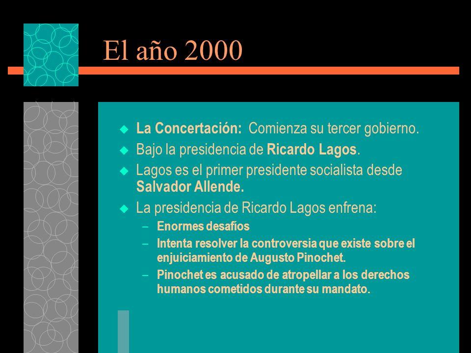 El año 2000 La Concertación: Comienza su tercer gobierno.
