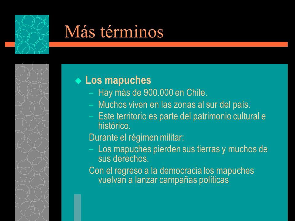 Más términos Los mapuches –Hay más de 900.000 en Chile.