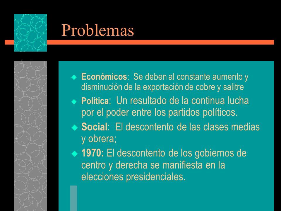 Problemas Económicos : Se deben al constante aumento y disminución de la exportación de cobre y salitre Política : Un resultado de la continua lucha por el poder entre los partidos políticos.