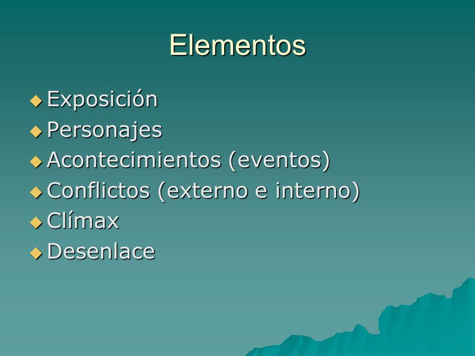Elementos Exposición Exposición Personajes Personajes Acontecimientos (eventos) Acontecimientos (eventos) Conflictos (externo e interno) Conflictos (e