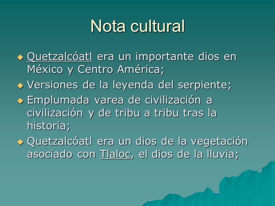 Nota cultural Quetzalcóatl era un importante dios en México y Centro América; Quetzalcóatl era un importante dios en México y Centro América; Versione