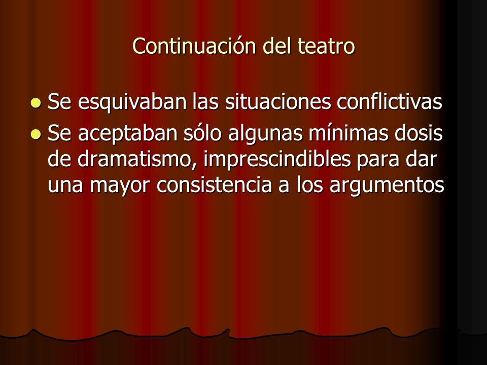 Continuación del teatro Se esquivaban las situaciones conflictivas Se esquivaban las situaciones conflictivas Se aceptaban sólo algunas mínimas dosis