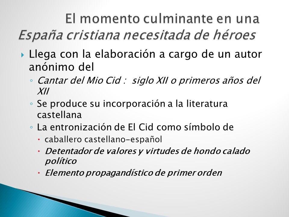 La literatura y la historiografía posteriores Utilizan la figura de El Cid Engrandesan la leyenda Se cita El Cid en Composiciones, poemas, cantares de