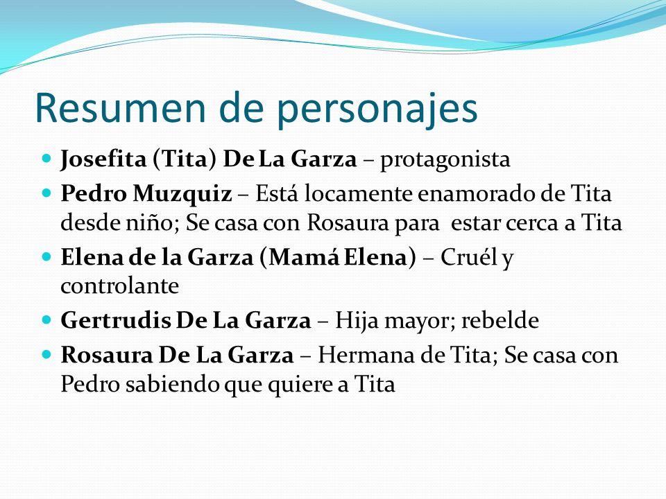 Resumen de personajes Josefita (Tita) De La Garza – protagonista Pedro Muzquiz – Está locamente enamorado de Tita desde niño; Se casa con Rosaura para