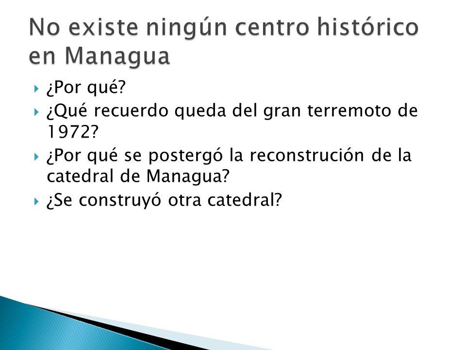 Región del Pacífico Una larga zona volcánica, causa de muchos terremotos 1973 destruyó la ciudad de Managua El huracán Mitch que atravesó América Central en 1988 también afectó a Nicaragua, matando a miles de personas y ganado y destrozando cosechas