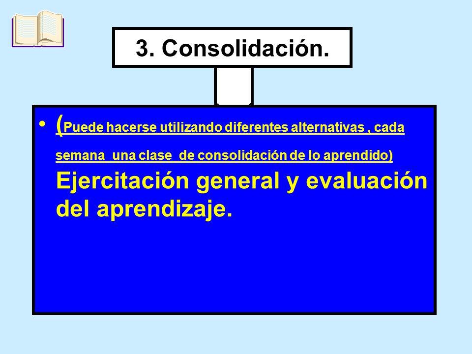 3. Consolidación. ( Puede hacerse utilizando diferentes alternativas, cada semana una clase de consolidación de lo aprendido) Ejercitación general y e