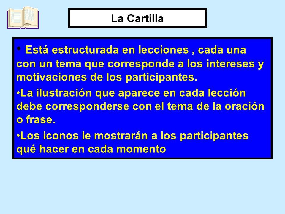 Está estructurada en lecciones, cada una con un tema que corresponde a los intereses y motivaciones de los participantes. La ilustración que aparece e