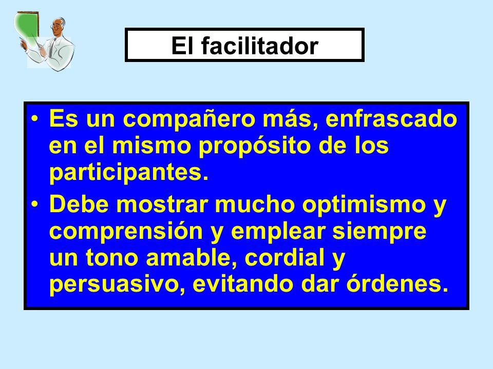 El facilitador Es un compañero más, enfrascado en el mismo propósito de los participantes. Debe mostrar mucho optimismo y comprensión y emplear siempr
