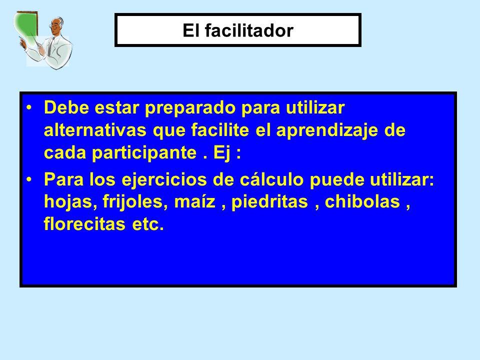 Debe estar preparado para utilizar alternativas que facilite el aprendizaje de cada participante. Ej : Para los ejercicios de cálculo puede utilizar:
