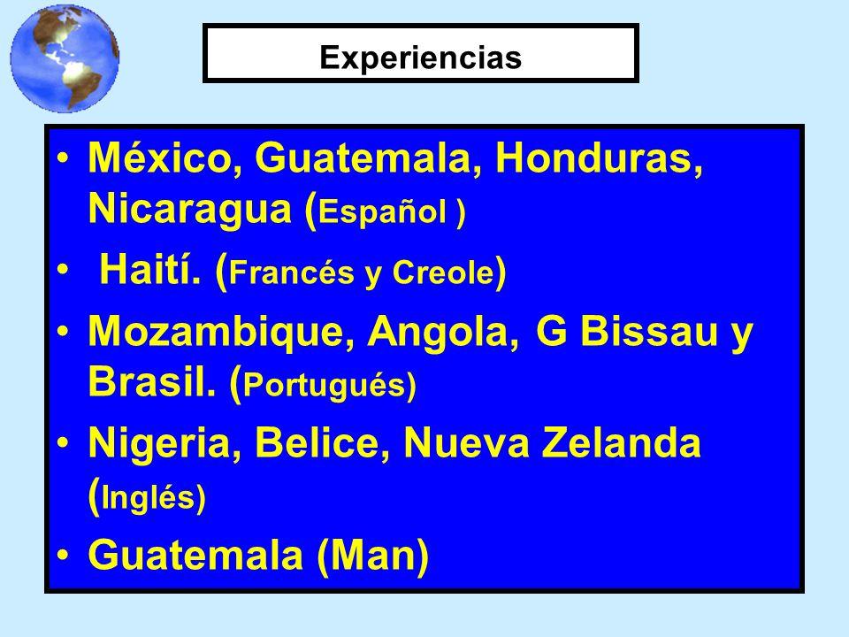 Experiencias México, Guatemala, Honduras, Nicaragua ( Español ) Haití. ( Francés y Creole ) Mozambique, Angola, G Bissau y Brasil. ( Portugués) Nigeri