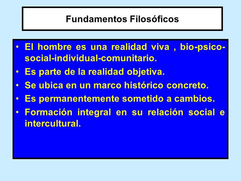 Fundamentos Filosóficos El hombre es una realidad viva, bio-psico- social-individual-comunitario. Es parte de la realidad objetiva. Se ubica en un mar